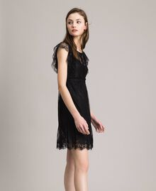 Chantilly lace dress with belt Black Woman 191ST2121-02
