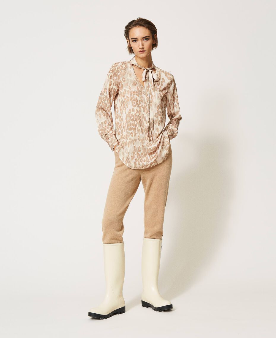 "Animal print satin blouse ""Dune"" Beige Animal Print Woman 202MP243D-02"