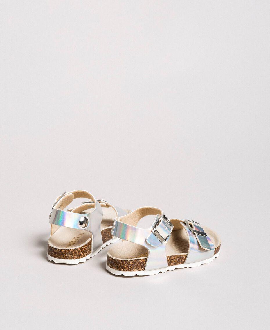 Sandales en cuir laminé Argent / Nickel Enfant 191GCB162-0S