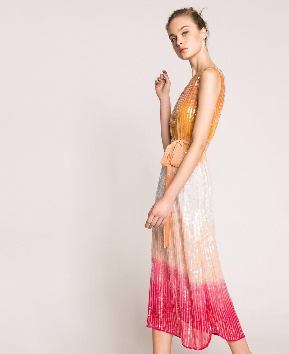 Платье в технике тай-дай со сплошной отделкой пайетками Разноцветный Батик Радужный Розовый женщина 201TT2330-02