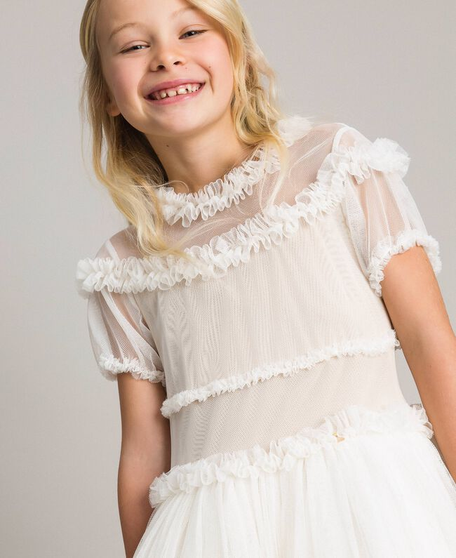 Tulle long dress Pale Cream Child 191GJ2Q20-04