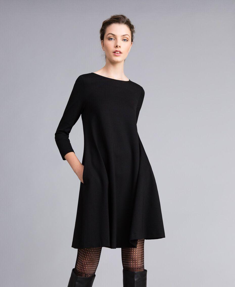 A-line Milan stitch dress Black Woman PA821U-01
