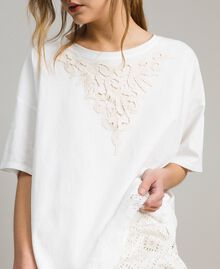 Maxi T-shirt with lace Two-tone Off White / Ecru Woman 191ST2083-05
