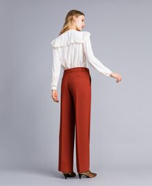 Pantaloni palazzo in lana bistretch Bruciato Donna TA8272-03