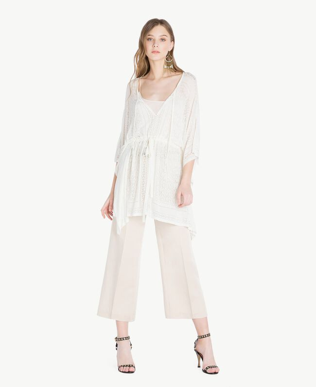 Viscose poncho Mother Of Pearl Woman TS83AD-01