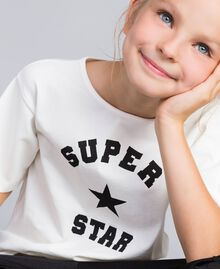 T-shirt in cotone con stampa Off White Bambina GA82B3-04