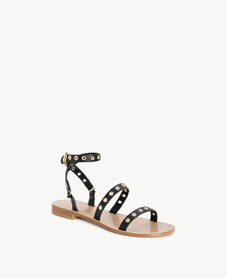 TWINSET Sandale aus Leder Schwarz Frau CS8TAG-02