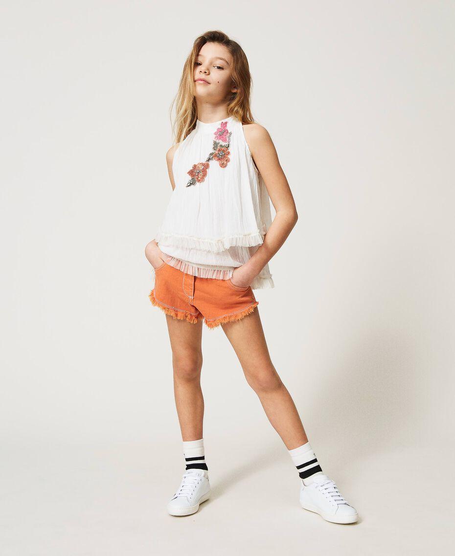 "Frayed bull shorts ""Iceland Poppy"" Orange Child 211GJ206E-01"