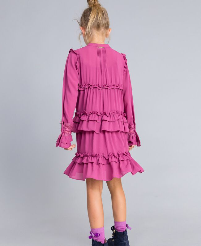 Georgette flounced dress Pink Bouganville Child GA82HA-03