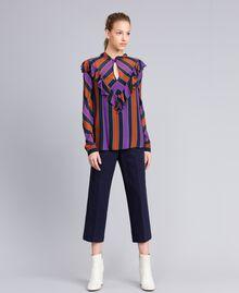 Blusa de georgette de rayas Estampado Raya Multicolor Mujer TA8291-02