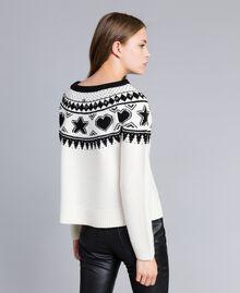 Pull jacquard avec clous Bicolore Blanc Nacre / Noir Femme JA83EA-03