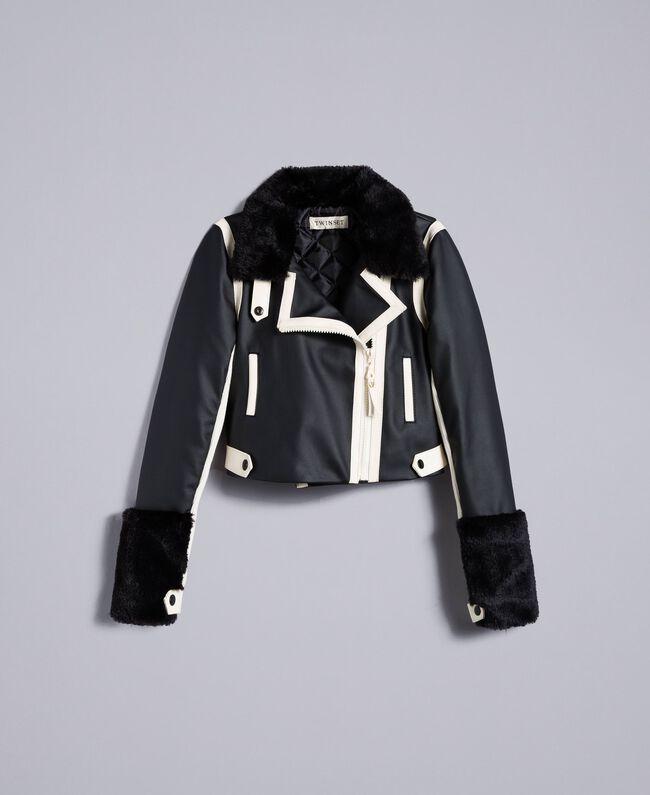 Two-tone faux leather jacket Bicolour Black / Off White Child GA82BU-01