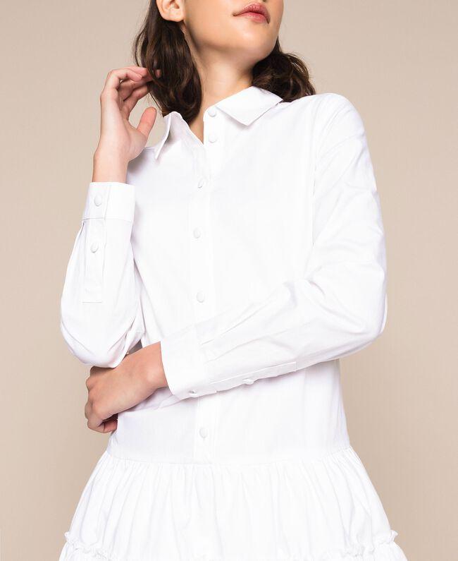 Поплиновое платье-рубашка с оборками Белый женщина 201ST2020-04