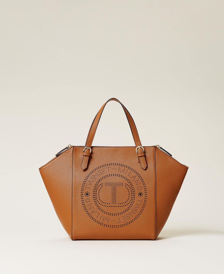 Shopper with openwork logo Leather Brown Woman 212TB7260-01