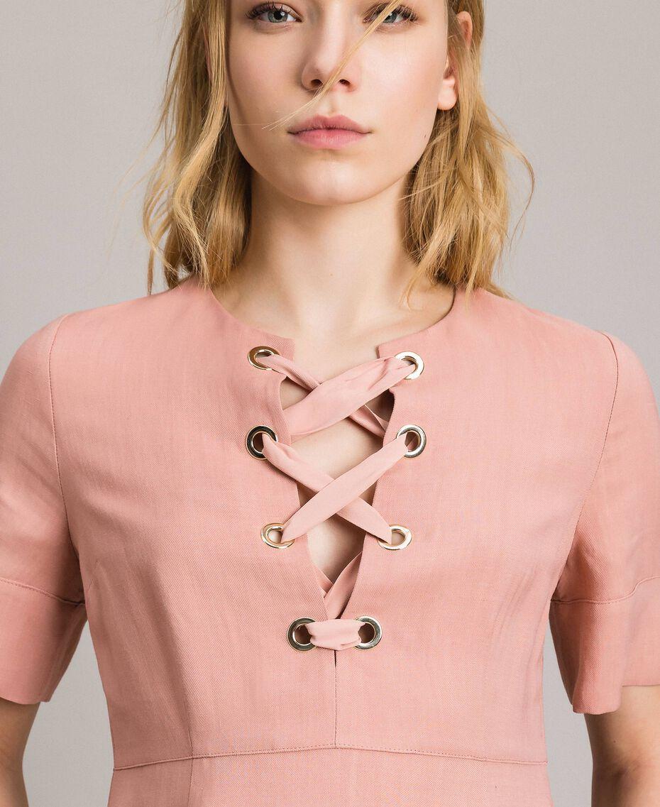 Kleid aus Leinenmischung mit Schleife Perlrosa Frau 191TP2204-01