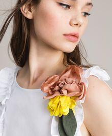 Popeline-Kleid mit Rüschen und Brosche Weiß Frau 191MT2050-05