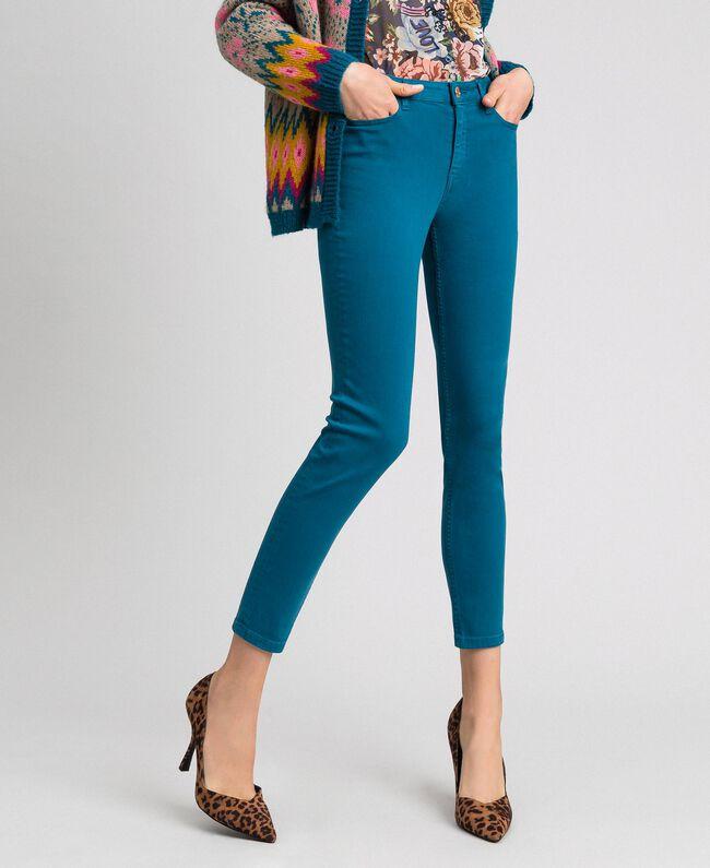 c9660735d3 Pantaloni skinny con cinque tasche Donna, Azzurro   TWINSET Milano