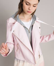 "Blouson motard en similicuir avec insertion en molleton ""Rose Surréel"" Femme 191MP2050-04"