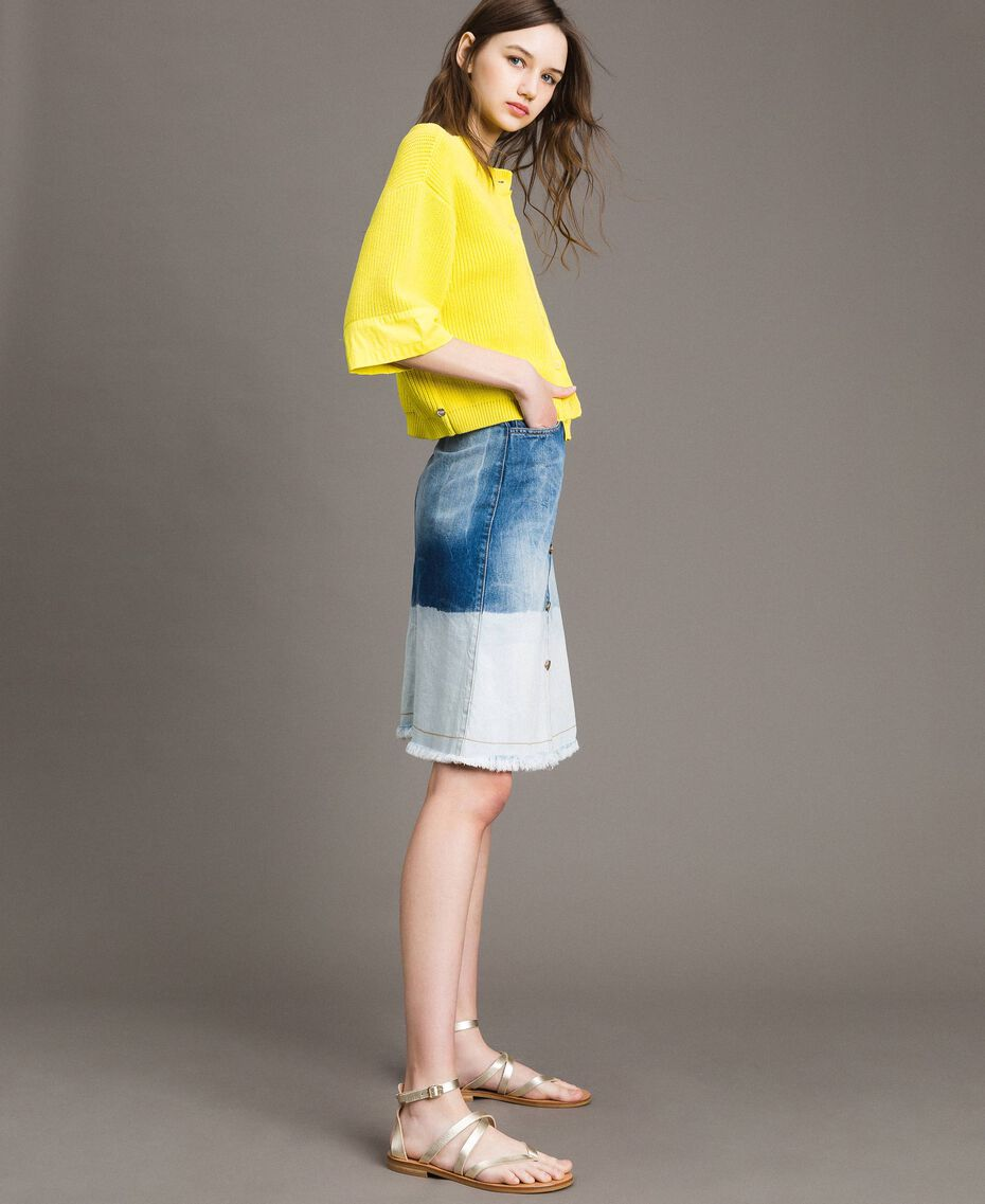 Cardigan-Pullover mit Details aus Popeline Zitronengelb Frau 191ST3060-03