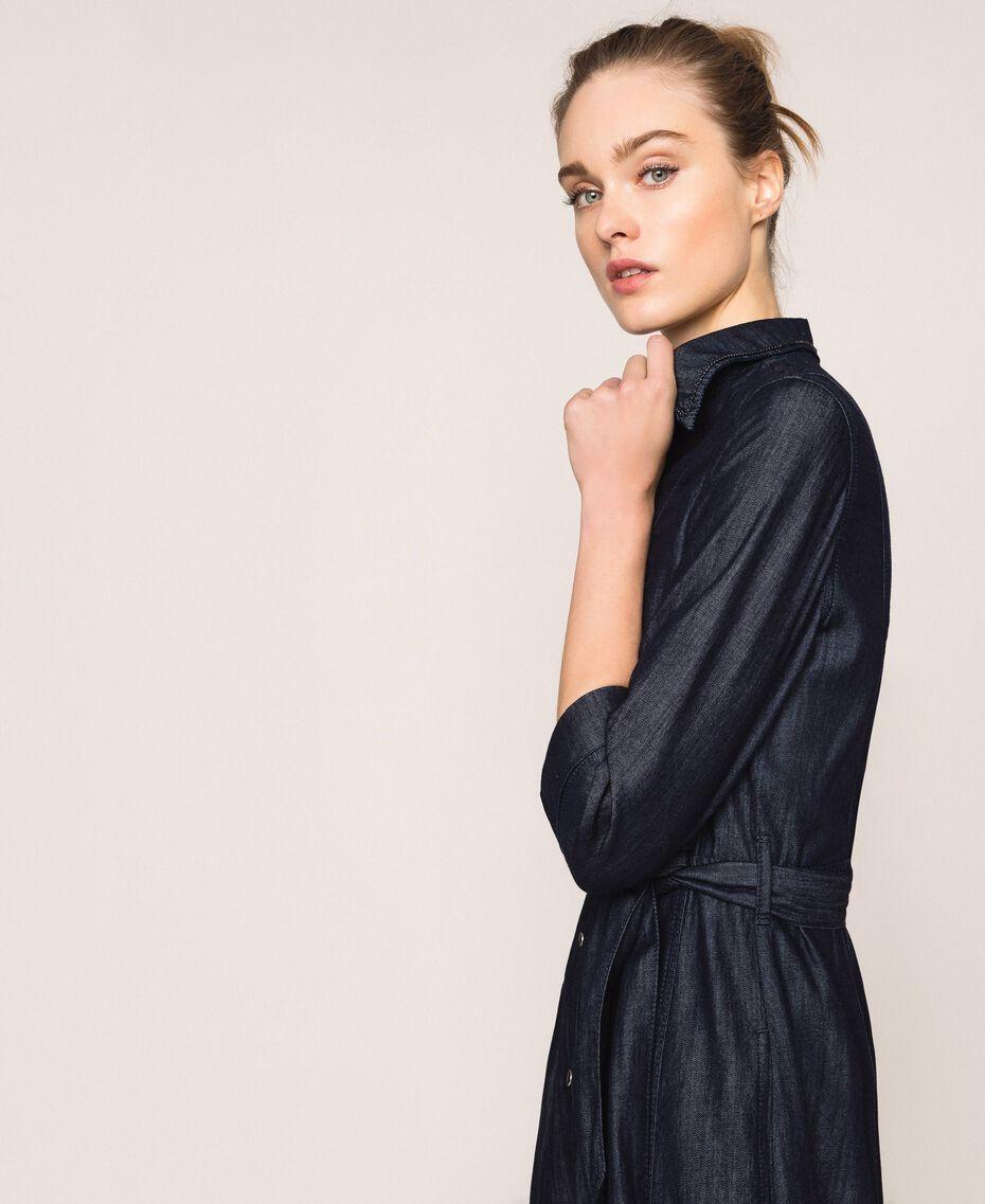 Длинное джинсовое платье-рубашка Синий Деним женщина 201MP2401-03