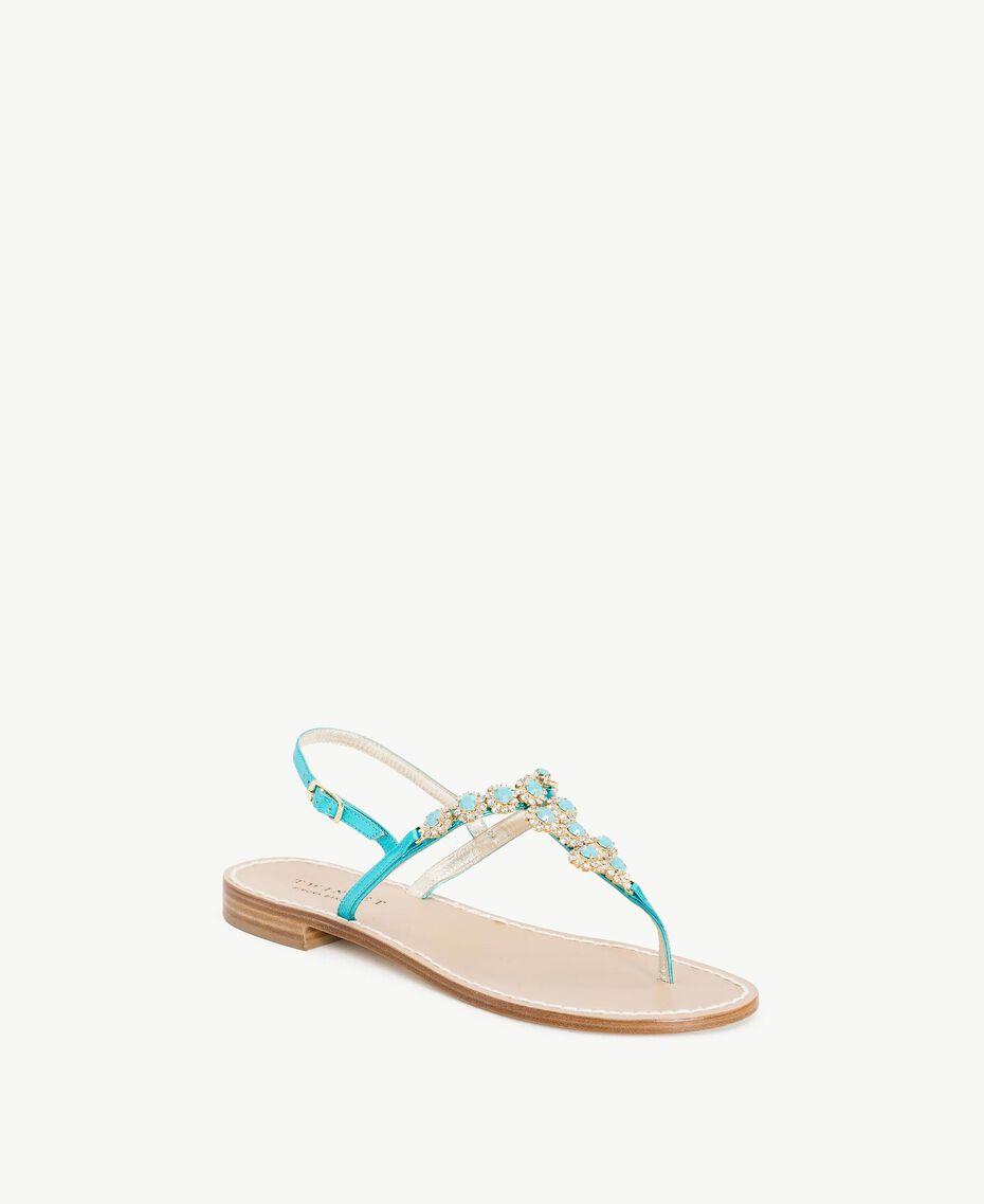 TWINSET Rhinestones sandals Turquoise Woman CS8TEC-02