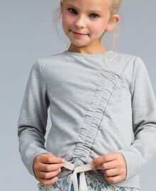 Draped stretch cotton sweatshirt Bicolour Light Grey Melange / Off White Child GA82GB-04