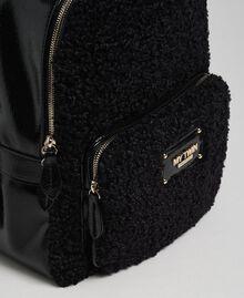 Sac à dos en fausse fourrure avec poche avant Noir Femme 192MO8080-04