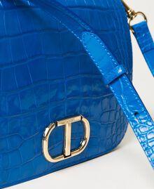 "Leather shoulder bag with crocodile print ""Nautical Blue"" Croc Print Woman 211TD8033-04"