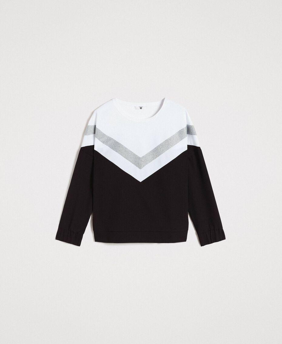 Gabardine sweatshirt with lurex insert Two-tone Black / Optical White Woman 191LL25EE-0S