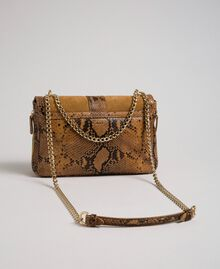 Grand sac Rebel à bandoulière en cuir et cuir velours Imprimé Python Brandy Femme 192TO8241-04