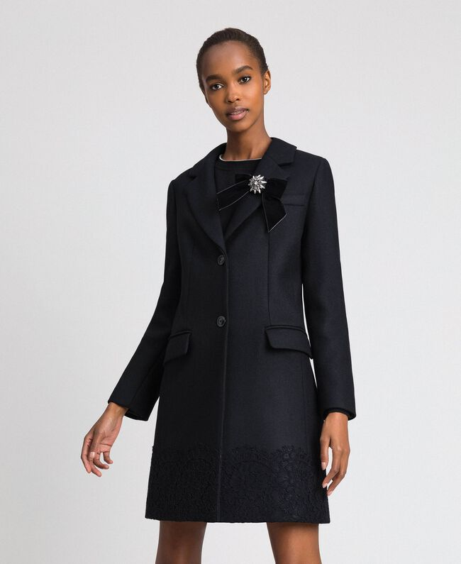 Wool cloth coat with lace Black Woman 192TP2314-01
