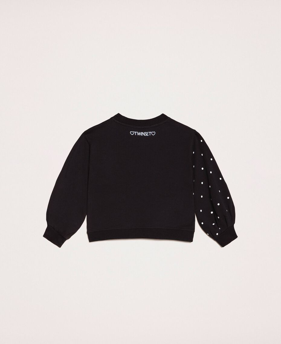 Sweatshirt with polka dots and sequin patch Two-tone Black / Polka Dot Print Child 201GB2320-0S