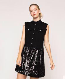Full sequin shirt dress Black Denim Woman 201MP2260-05