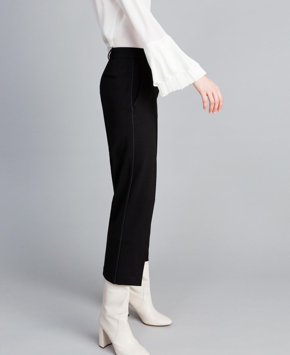 Pantalon en point de Milan Noir Femme TA822F-02