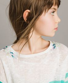"""Striped jumper and lace top """"Island Paradise"""" Light Blue / Off White Striping Child 191GJ3080-05"""