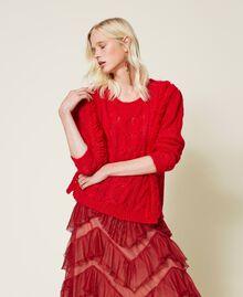 """Maxi maglia in misto mohair con frange Rosso """"Geranium"""" Donna 212TP3410-02"""