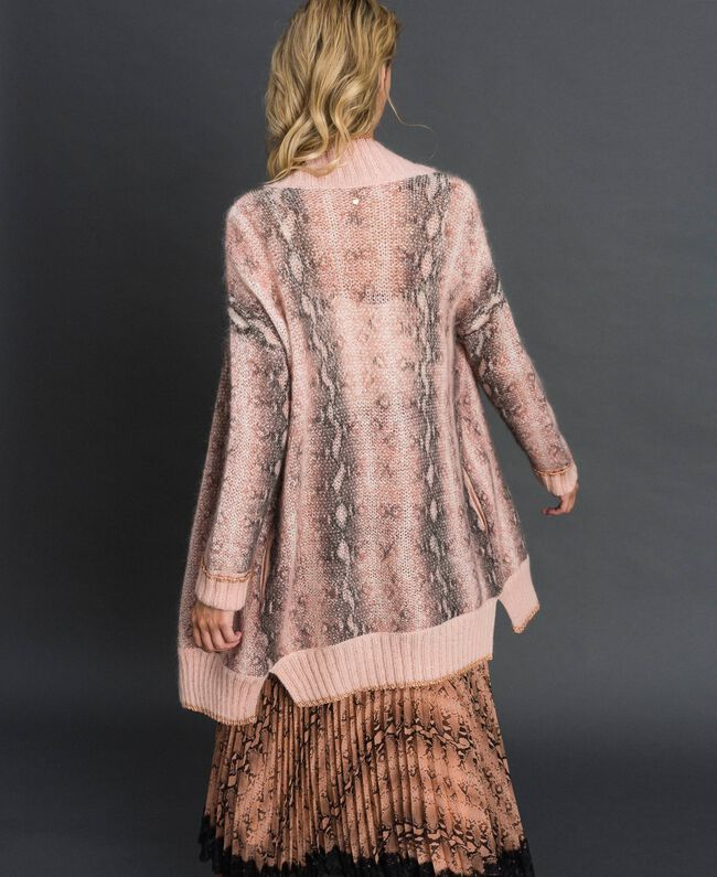 Maxi cardigan in mohair animalier Stampa Pitone Rosa Canyon Donna 192TT3331-03
