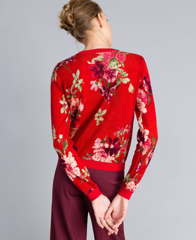 Gilet en laine imprimée Imprimé Jardin Rouge Femme PA83KD-03