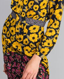 "Gonna in crêpe de Chine stampato Stampa Wind Flower Giallo ""Golden Yellow"" / Bouquet Nero Donna YA82JC-04"