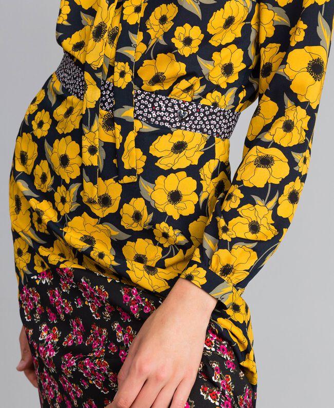 """Gonna in crêpe de Chine stampato Stampa Wind Flower Giallo """"Golden Yellow"""" / Bouquet Nero Donna YA82JC-04"""