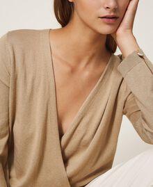 Jersey de seda y cachemira Beige Cáñamo Mujer 202TP3471-03