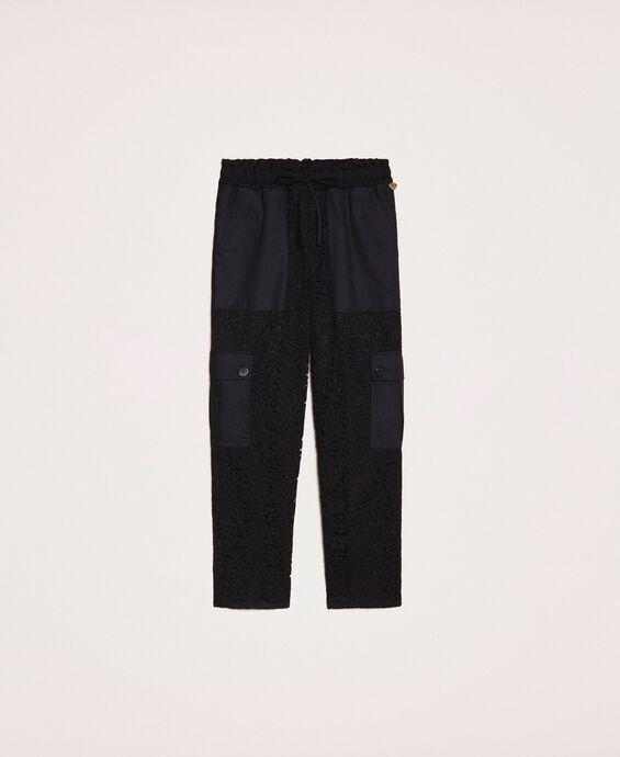 Macramé lace cargo trousers