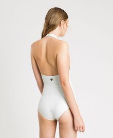 "Glitter one-piece swimsuit with a bow ""Milkway"" Beige Woman 191LBM3ZZ-03"