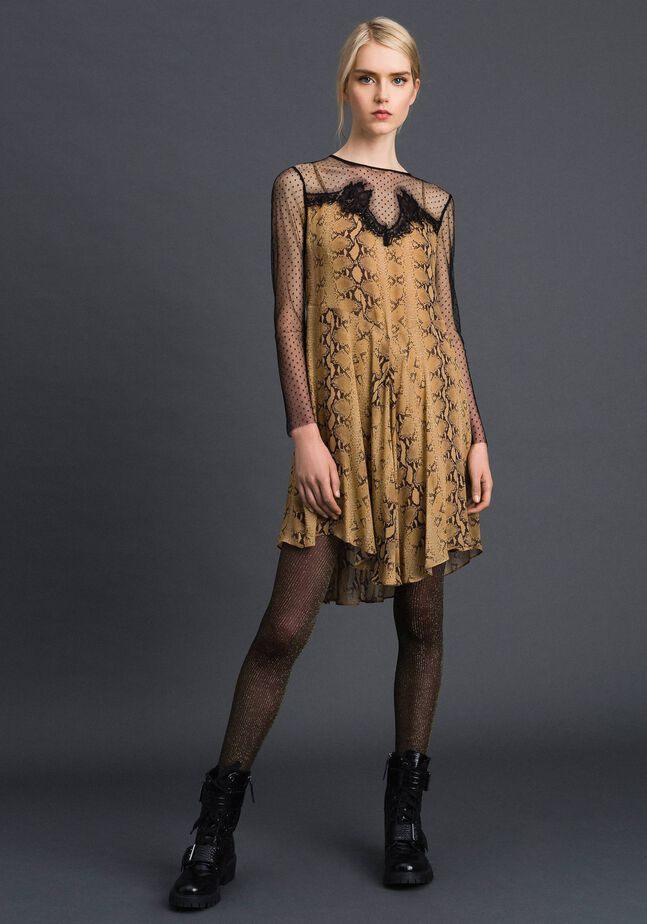 Robe en crêpe georgette avec motif animalier