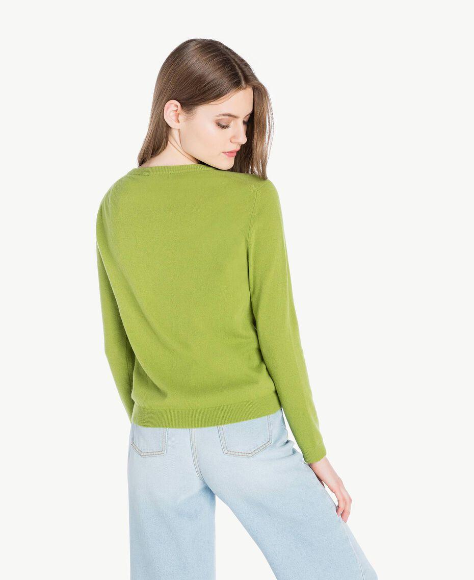 Cashmere mandarin collar jumper Green Pistachio Woman PS83EH-03