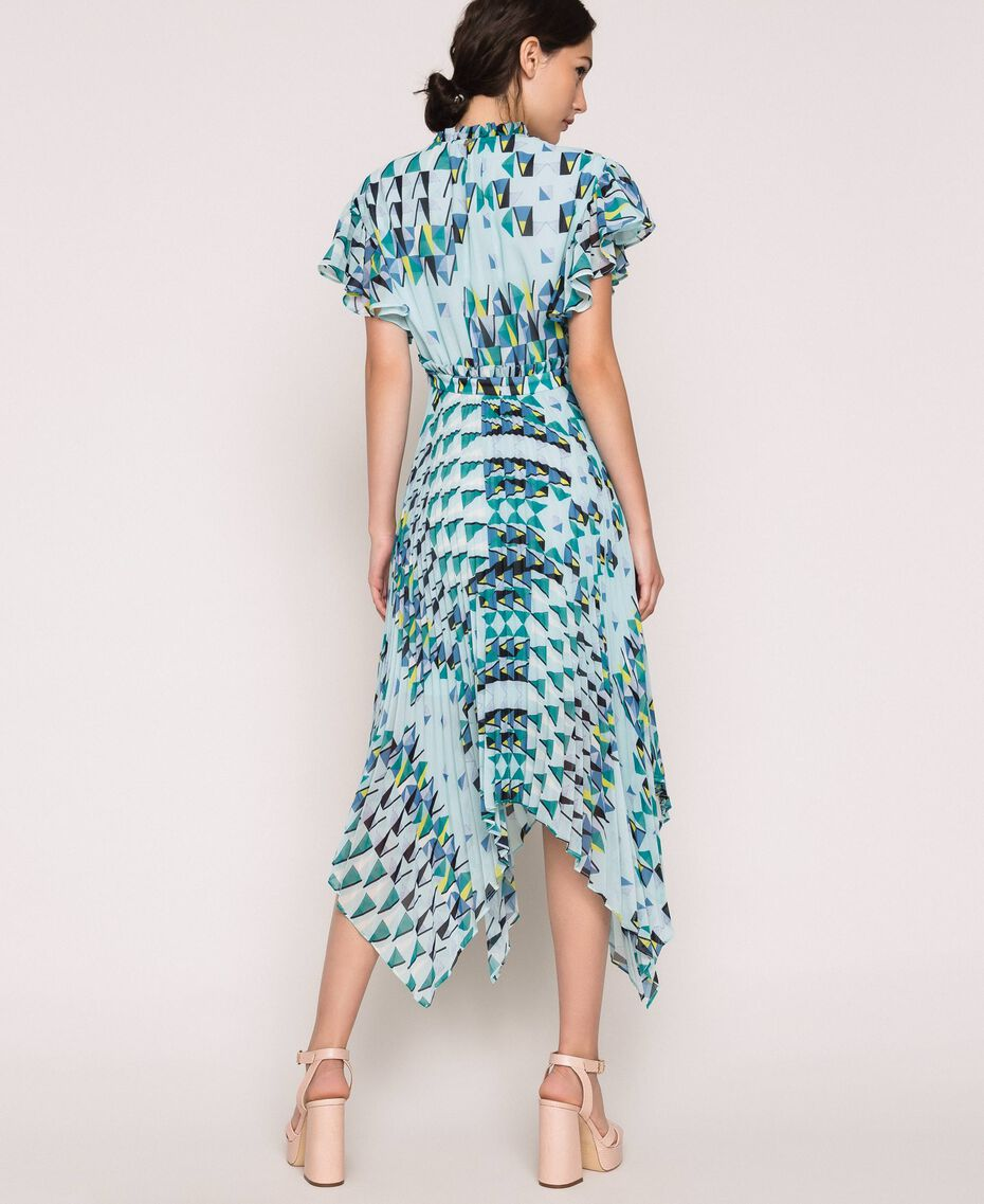 """Printed georgette dress with pleats and frills """"Windy"""" Blue Geometric Print Woman 201ST2185-02"""