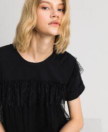 Valenciennes lace flounce blouse Black Woman 192TP2330-04