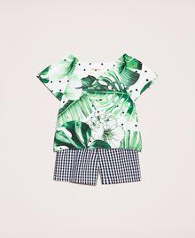 Printed top and gingham shorts Green Polka Dot Tropical Print / Vichy Child 201GB209A-0S