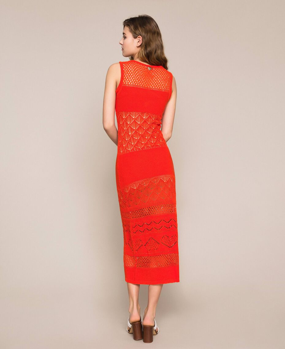 "Openwork long dress with sequins ""Ace"" Orange Woman 201LM3AAA-03"
