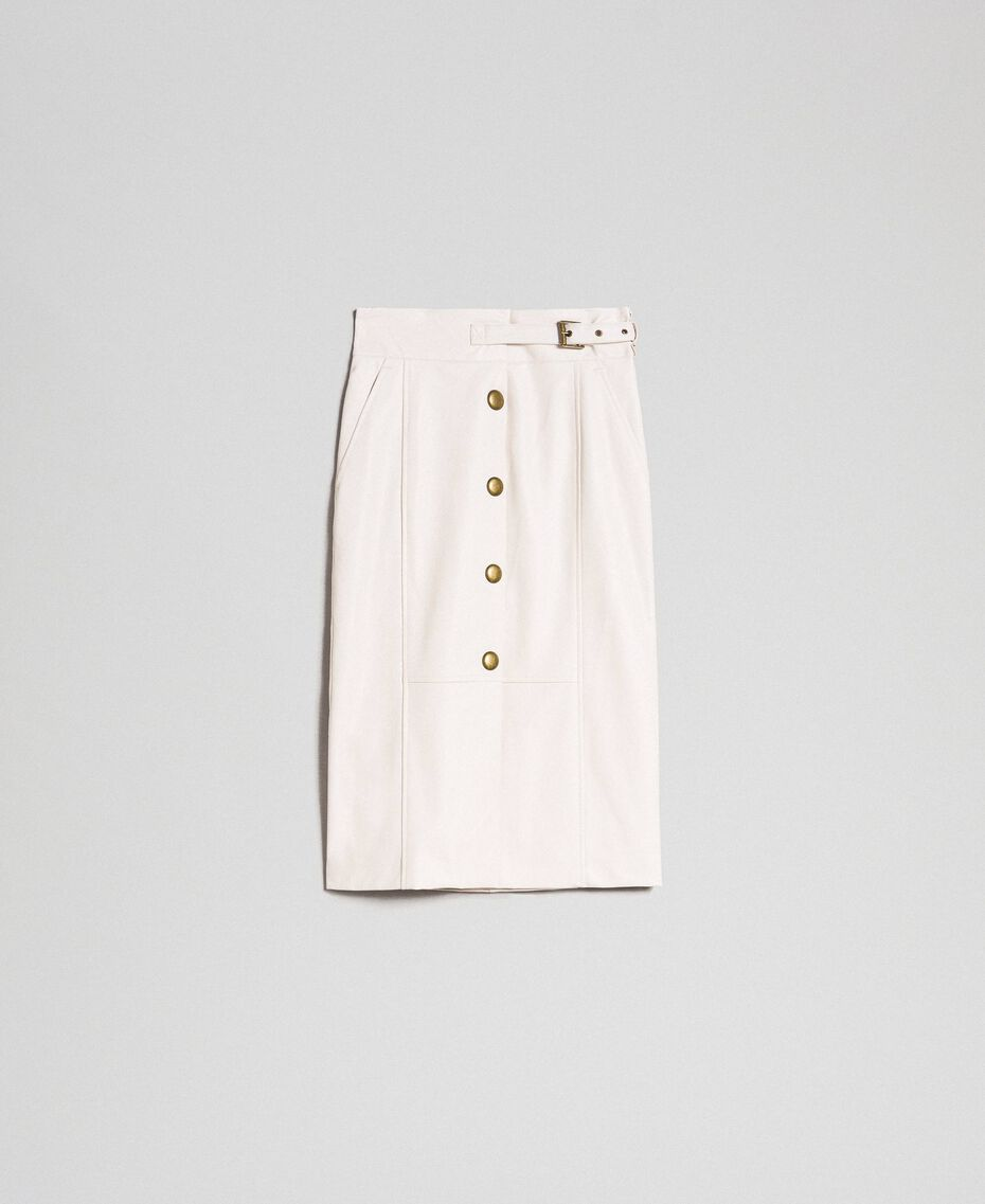 Faux leather midi skirt White Snow Woman 192TT203B-0S